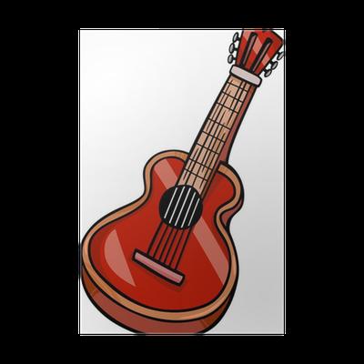 Póster Guitarra Acústica Dibujos Animados Clip Art Pixers Vivimos Para Cambiar