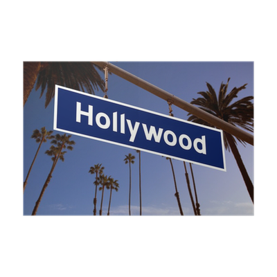 Hollywood Sign Illustration Over LA Palm Trees Poster O PixersR We Live To Change