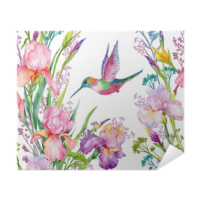iris flowers and hummingbirds  watercolor seamless pattern Poster • Pixers®  • We live to change