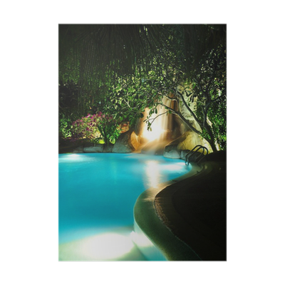 Malediven swimming pool bei nacht poster pixers we for Swimming pools bei obi