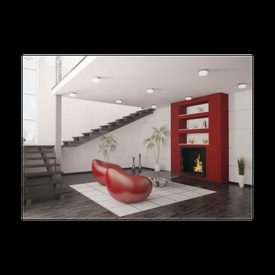 Modern Interior Wohnzimmer Mit Kamin Und Treppe 3d Render Poster U2022 Pixers®  U2022 We Live To Change