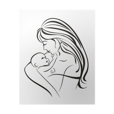 Mother And Child Concept Sketch In Black Lines Poster Pixers We Live To Change