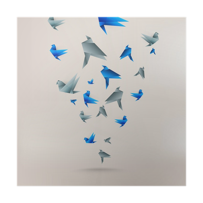 Origami Paper Bird On Abstract Background Poster O PixersR We Live To Change