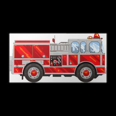 Poster Pixelart Camion De Pompier Pixers Nous Vivons Pour Changer