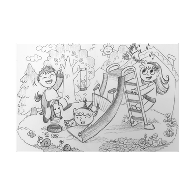 Playground 3 Happy Kids Playing Hand Drawn Illustration Poster Pixers We Live To Change