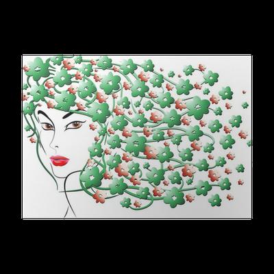 Fiori Nei Capelli.Ragazza Con Fiori Nei Capelli Flower Hair Girl Poster Pixers