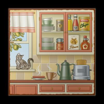 poster retro cuisine pixers nous vivons pour changer. Black Bedroom Furniture Sets. Home Design Ideas