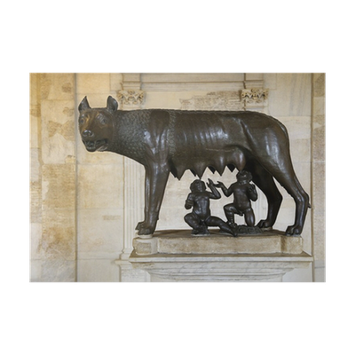 Sculpture of Capitoline Wolf, Romulus, and Remus Poster • Pixers ...