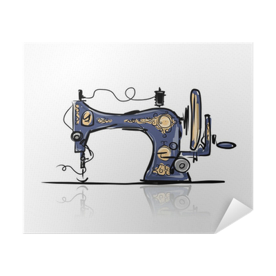 Sewing Machine Retro Sketch For Your Design Poster Pixers We Live To Change