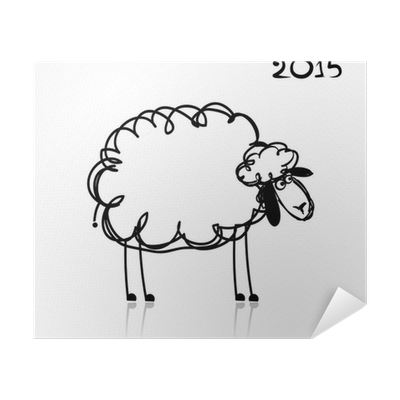 Sheep Sketch Symbol Of New Year 2015 Poster Pixers We Live To Change