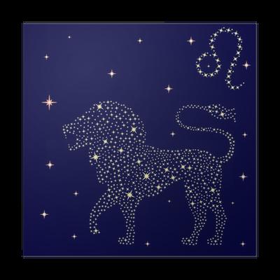poster signe astrologique lion sur le ciel toil pixers nous vivons pour changer. Black Bedroom Furniture Sets. Home Design Ideas