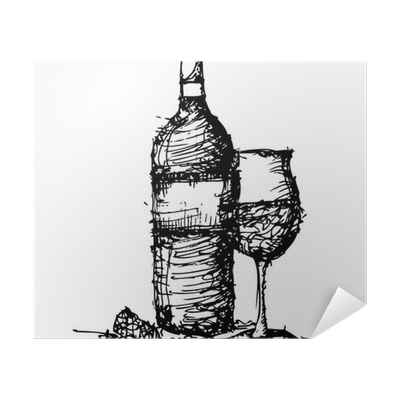 Sketch Drawing Of Wine Bottle And Glass Poster Pixers We Live To Change