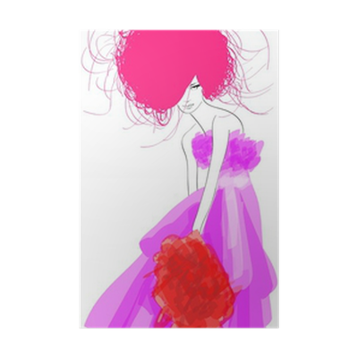Sketch Fashion Girl Hand Drawn Fashion Model Vector Illustrat Poster Pixers We Live To Change