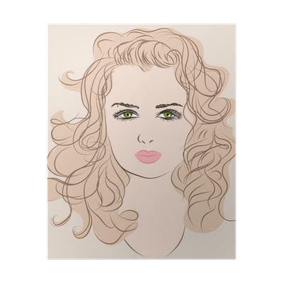 Sketch Of A Beautiful Young Girl With Long Wavy Hair Poster Pixers We Live To Change