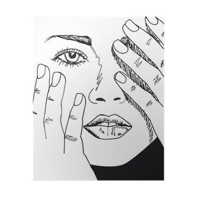 Sketch Of Beautiful Woman Face Vector Illustration Poster Pixers We Live To Change
