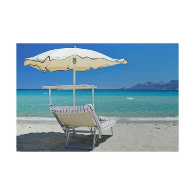 Strandstoel Met Parasol.Poster Strandstoel Met Parasol Pixers We Leven Om Te Veranderen