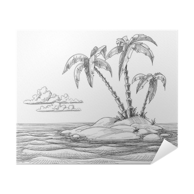 Tropical Island Vector Sketch Poster Pixers We Live To Change
