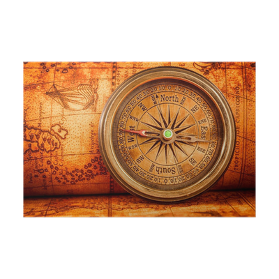 Vintage Compass Lies On An Ancient World Map Poster O PixersR We Live To Change