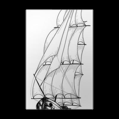 Vintage Sailboat Sketch Poster Pixers We Live To Change