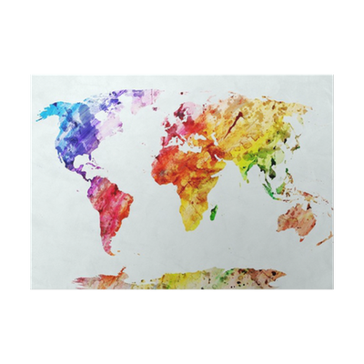 Watercolor world map poster pixers we live to change gumiabroncs Images