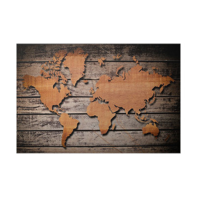 World map carving on wood plank. Poster • Pixers® - We live to change