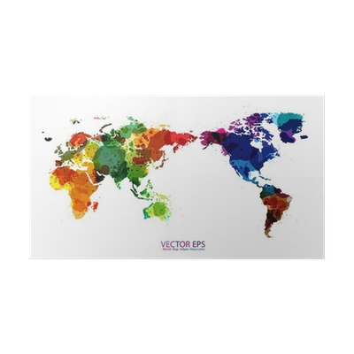 World map watercolor vector illustration poster pixers we live world map watercolor vector illustration poster pixers we live to change gumiabroncs Images