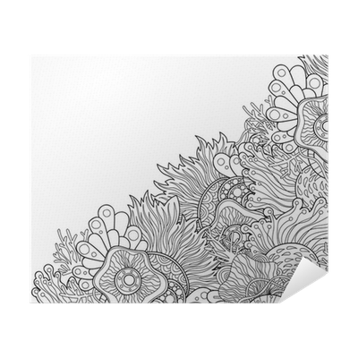 Zentangle Style Invitation Card Doodle Wavy Frame Design For Card