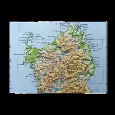 Cartina Fisica Sardegna Da Stampare.Quadro Su Tela Carta Geografica Della Sardegna Pixers Viviamo Per Il Cambiamento