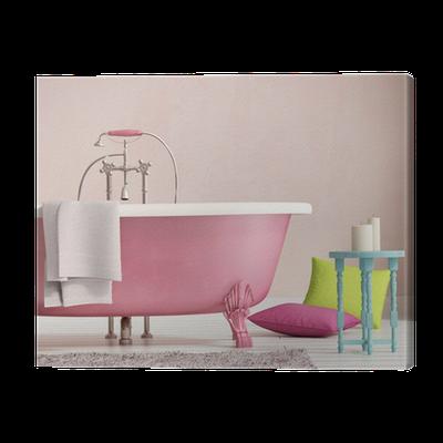 Quadro su Tela Classica vasca da bagno rosa con uno sgabello e ...