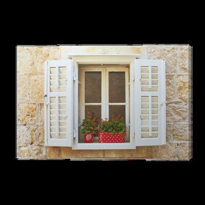 Quadro su tela vecchie finestre dell 39 otturatore con fiori - Quadri con finestre ...