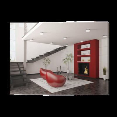 Quadro Em Tela Modern Interior Wohnzimmer Mit Kamin Und Treppe 3d Render U2022  Pixers®   Vivemos Para Mudar