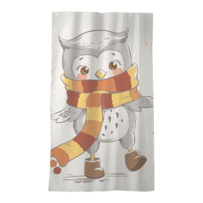 Cute Little Owl Wearing A Scarf Cartoon Hand Drawn Vector