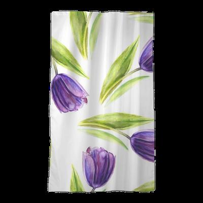 Watercolor Purple Tulip Flower Seamless Pattern Hand