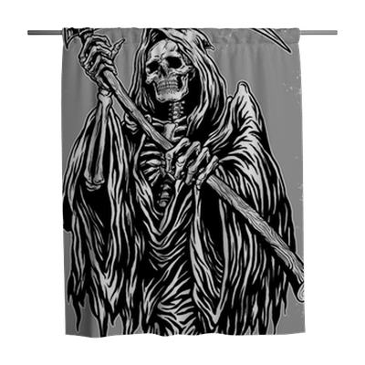 Hand Inked Grim Reaper Illustration Shower Curtain Pixers We Live To Change
