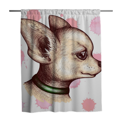 Watercolor Portrait Head Chihuahua Dog Puppy Pet Animal Sketch Vector Shower Curtain Pixers We Live To Change