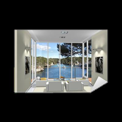 sticker 3d rendu salon baie vitr e pixers nous vivons pour changer. Black Bedroom Furniture Sets. Home Design Ideas