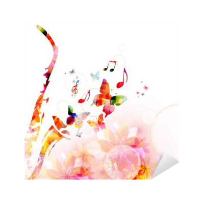 Abstract Music Background Sticker Pixers We Live To Change