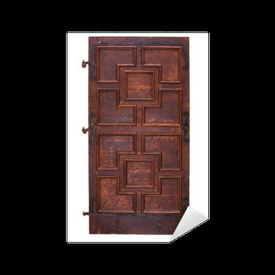 Sticker ancienne porte en bois avec charni res chemin de for Sticker porte armoire