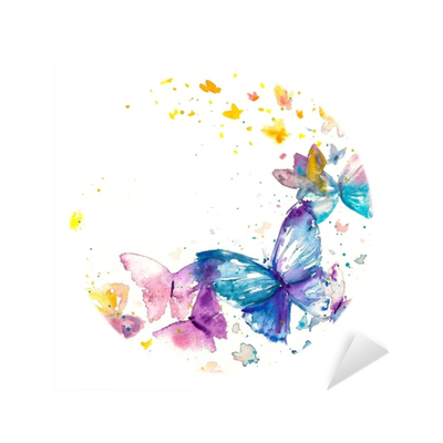 Beautiful watercolor butterfly on white paper background ...