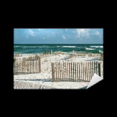 sticker belle plage de sable de la floride avec cl tures. Black Bedroom Furniture Sets. Home Design Ideas