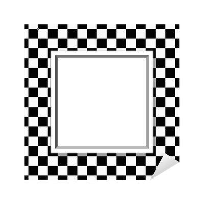 Black And White Checkered Frame With Frame Background Sticker
