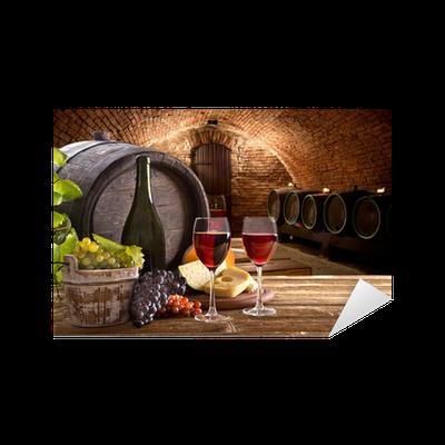 Sticker bouteille de vin et des verres sur la table en bois pixers nous vivons pour changer - La bouteille sur la table ...