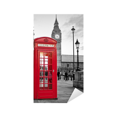 sticker cabine t l phonique rouge londres avec big ben en noir et blanc pixers nous. Black Bedroom Furniture Sets. Home Design Ideas