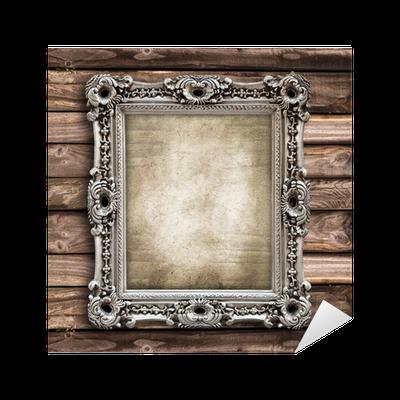 sticker cadre baroque rectangulaire fond bois pixers nous vivons pour changer. Black Bedroom Furniture Sets. Home Design Ideas