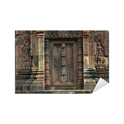 Sticker cambodge angkor temple de banteay srey une fausse for Stickers fausse porte