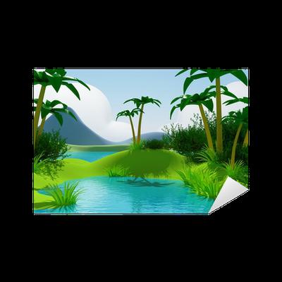 Cartoon 3d Tropical Jungle Landscape Sticker Pixers