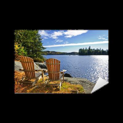 Sticker chaises adirondack au bord du lac pixers nous - Chaise adirondack france ...