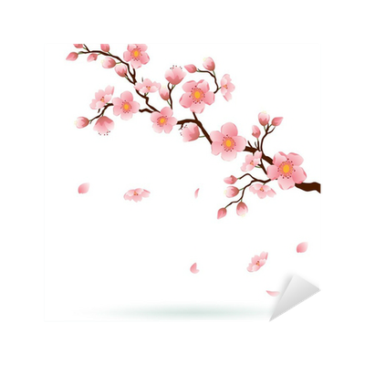 Cherry blossom with falling petals. Sticker • Pixers® - We ...