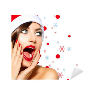 e5a5fb6327de2 Christmas Woman. Beauty Model Girl in Santa Hat over White Sticker •  Pixers® • We live to change