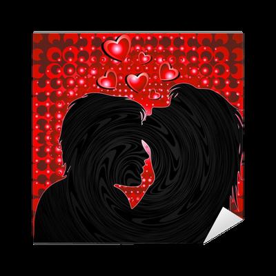 Coppia Amanti Sfondo Rosso Lovers Red Background Vector Sticker